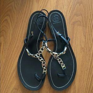 Tory Burch Gemini Link Black Sandals